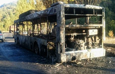 Автобус зажегся надороге вАлматы